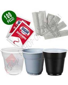 Kit accessori bicchieri, palette incartate e bustine di zucchero